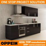 Armadio da cucina di legno di consegna del commercio all'ingrosso nero moderno veloce della melammina (OP14-K008)