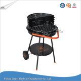 Griglia semplice nera del BBQ di figura rotonda di colore con il carrello