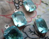 Vintage Aquamarine Glass Octagon Silver Plated Drops para Earring ou Necklace