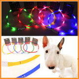 LED USB Rechargeable Luminous Pet Dog Flashing Collars Night Safety Necklace를 불이 켜지십시오