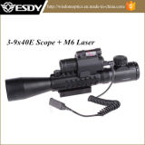 3-9X40e Airsoft Riflescope Sight mit M6 Red Laser LED Flashlight