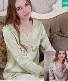 Pijamas de seda luxuosos simples de seda de Sleepware de linho de base da senhora