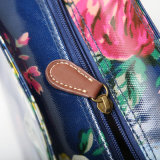 Dos tallas impermeabilizan los bolsos de compras florales de la marea azul marino de la lona del PVC (CK005)