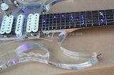 Musique de Hanhai/guitare électrique acrylique transparente avec des lumières sur Fretboard