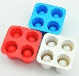 Food Grade cuatro celdas Bullen Cabeza del molde del silicón del hielo de cristal de hielo Bandejas
