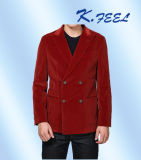 Chaqueta doble roja de la pana de Breasted del Mens