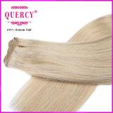 Extensões retas naturais do cabelo humano de cabelo louro da forma