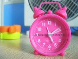 Horloge d'alarme incassable de bureau de silicones de Bell de jumeau de décoration de maison de couleur fluorescente