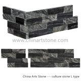 Черное деревянное плакирование каменной стены культуры для украшения виллы