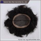 Toupee indiano degli uomini di estensione dei capelli umani