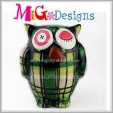 男の子の陶磁器の緑のフクロウの装飾の卸売の動物の貯金箱