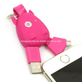USB lindo Cable del hipopótamo 2 in-1 para Micro e iPhone6