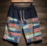 Shorts de linho da placa da tela/calças ocasionais, Shorts impressos da praia do projeto para o homem