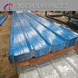 上塗を施してある青い波形の鋼鉄屋根シートを着色しなさい