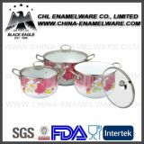 ステンレス鋼の縁が付いている個人化された花のステッカーのエナメルのカセロールの鍋