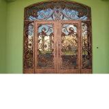 Vidrio barato de la puerta del hierro labrado del precio