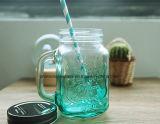 Vaso di muratore di vetro a forma di quadrato con il coperchio del metallo