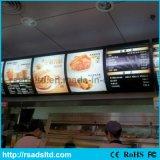 Letrero montado en la pared del rectángulo ligero del menú del restaurante del LED