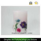Vela de cristal de la inclusión con la flor seca y la vela votiva adentro