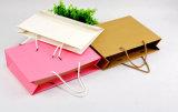 Мешок упаковки ювелирных изделий бумажной несущей искусствоа руки подарка покупкы бумаги печати Brown Kraft выдвиженческий Coated косметический с веревочкой хлопка Nylon (d10)
