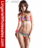 Ladies atractivo Bikini Striped y Butterfly Printed Bandage Swimwear
