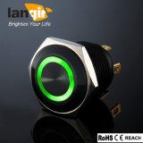 반지 까만 알루미늄 순간 누름단추식 전쟁 스위치, Ls16는 녹색 LED를 가진 누름단추식 전쟁 스위치를 방수 처리한다