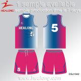 Healongの完全な昇華カスタム大学バスケットボールジャージー
