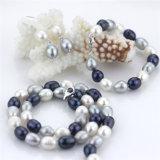 Snhの淡水の方法真珠のネックレスは女性2016年のためにセットした