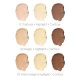 3 couleurs Fondation Faciale Crème Palette Naturel Bronzer Surligneur Maquillage Fo0354