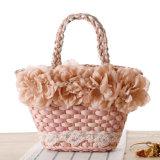 Moda Verano 2016 bolsas de paja natural con la flor