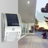 Indicatore luminoso solare esterno della parete LED del sensore di movimento dell'acciaio inossidabile PIR
