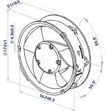 alloggiamento termoplastico di 172X151X51mm e ventilatore assiale delle ventole DC17251