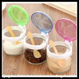 Glasspeicherglas mit Plastikkappen-/Küchenbedarf-geradem Glas einstellen