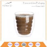 Copo de café de vidro do copo da parede elevada do dobro do Borosilicate