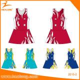 Tuta stabilita del Netball delle donne di sublimazione della squadra con le uniformi di Shorts