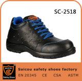 Vlotte Schoenen Sc-2518 van de Arbeider van de Veiligheid van Outsole van de Injectie van het Leer Zwarte Pu