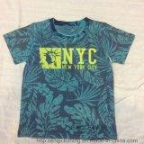 Maglietta del manicotto di Short del ragazzo di estate con gli alberi di noce di cocco di stampa Sq-6226