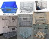 Cesta Stackable do engranzamento de fio que dobra recipientes industriais do engranzamento do armazenamento