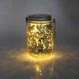 Luz de cristal solar electrochapada oro blanco caliente del tarro del final del parpadeo LED