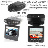 """Billig 2.4 """" drehbare Bildschirm-Auto-Flugschreiber-Auto-Kamera-Digital-Videogerät DVR mit einem 120 Grad-Winkel, Gedankenstrich-Kamerarecorder LED DVR-2441 der Nachtsicht-6PCS"""