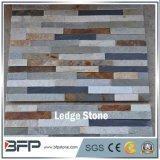 Pierre mélangée de Stcked de quartzite de couleur à extrémité élevé pour la tuile de mur et le revêtement de mur de villa