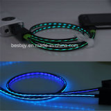 0.8 metros LED visible iluminado hasta 8 pin de rayos a cable plano USB