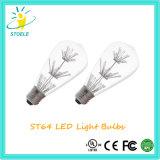 Venta al por mayor ligera estrellada del bulbo de los fuegos artificiales de Incadescent de la jaula de ardilla del bulbo de St64 LED
