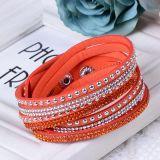 Formrhinestones-multi Schicht-Leder-Armband-Kristallschmucksachen