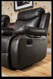 Sofà promozionale del Recliner casuale di movimento della mobilia del salone con la Tabella del cassetto, Brown