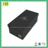 Emballage noir de luxe gravant en relief de cadre de chaussure de Cardbord