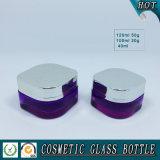 Purpurrote farbige quadratische Glaskosmetik-Pumpen-Flasche und Kosmetik-Glas