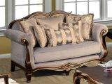 La Tabella classica del tessuto del sofà dell'oggetto d'antiquariato di amore della presidenza americana della sede ha impostato con il blocco per grafici di legno per mobilia vivente