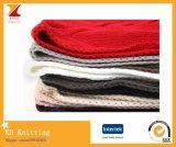 겨울 긴 작풍에 의하여 뜨개질을 하는 스카프