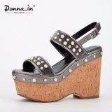 (Donna-в) сандалии платформы пробочки женщин кожи икры бархата драгоценности способа высокие